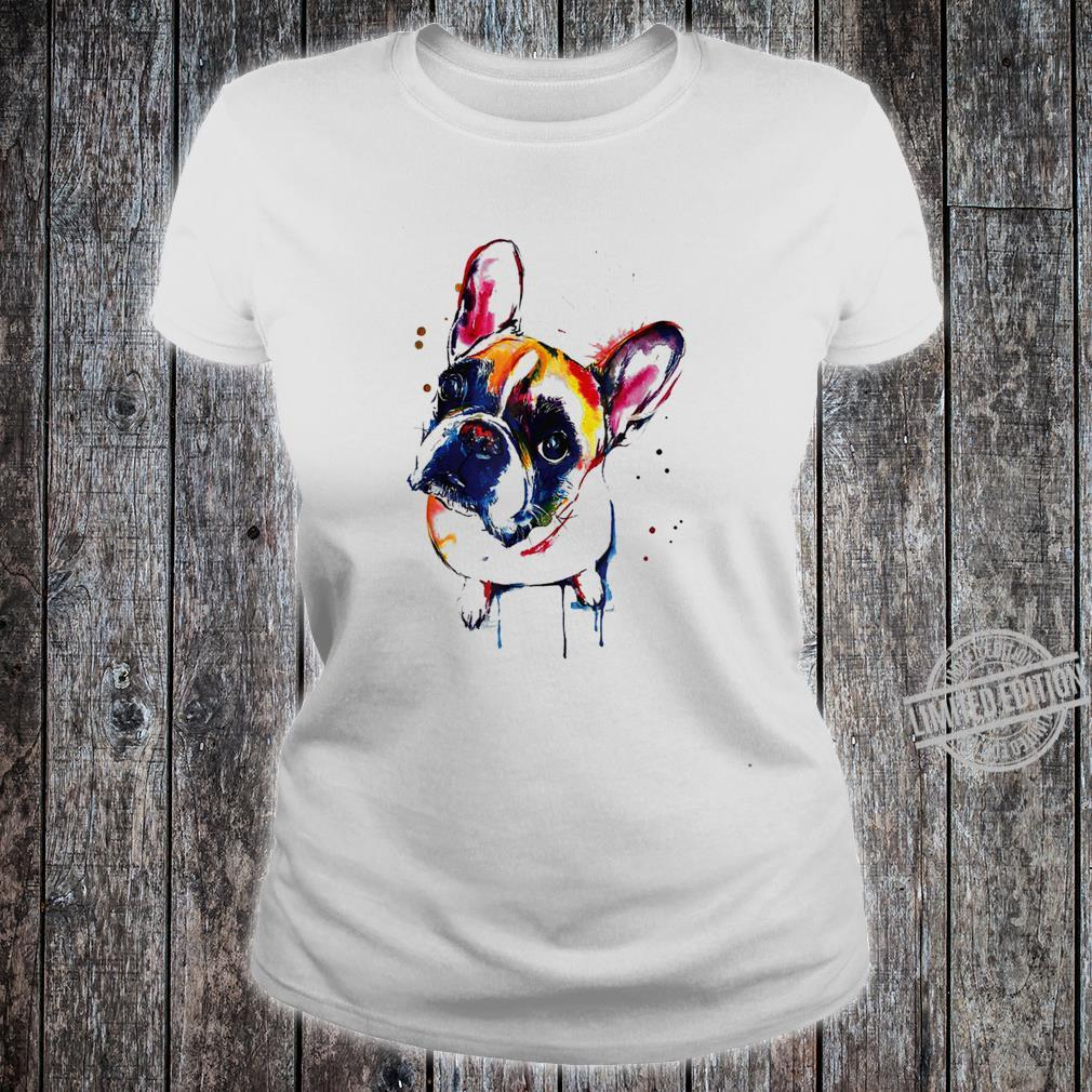 Funny Colorful French Bulldog, Pet Dog Love Dad Mom Shirt ladies tee